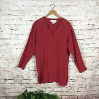 Diane Von Furstenberg Vintage Long Sleeve Silk Tunic Top Women's Size M