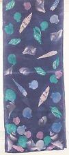 TERRIART Blue, Purple, Aqua Shells SILK 52x10 Long Scarf-Vintage