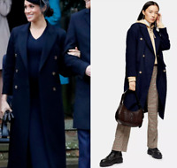 Topshop Navy Longline Military Coat Double Breasted Trench Jacket 6 to 16 New