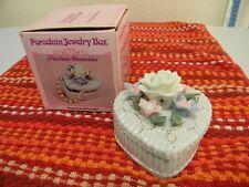 Precious Memories, Heart Shaped Porcelain Jewelry Trinket Box, Very Pretty!