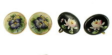 SEMI ANTIQUE WATER LILY PANSY HAND PAINTED PORCELAIN BUTTON SCREW BACK EARRINGS