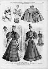 Stampa antica moda DONNE CON ABITI ELEGANTI 1893 Old print fashion