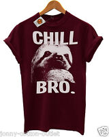 Chill Bro Sloth T-Shirt in Burgundy Cool Mens Hipster Ladies Swag  SALE ~