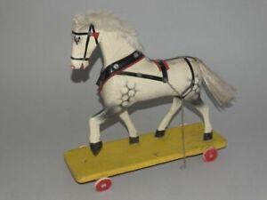 Großes antikes Rädertier Pferd - Holzspielzeug Nachziehtier Antikspielzeug -1930