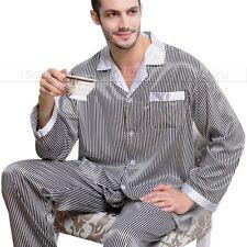 Gifts_ Mens Silk Satin Pajamas Pyjamas Set Sleepwear  Loungewear  S~4XL  Plus
