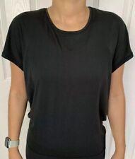 Lululemon Size 4 Get Set Short Sleeve Black BLK Tech Crew Run Yoga Open Back