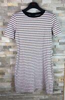 Topshop Ladies Size UK 10 US 6 Short Sleeved Orange Black Striped Dress