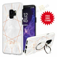 Personalised Marble Phone Case Cover & Finger Ring Stand For Top Mobiles 071-2
