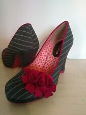 Ruby Shoo Grey White & Cherry Pink Court Shoes size 4/37 High Heel with Flower