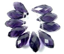 Vtg 100 AMETHYST FIRE POLISHED OVAL GLASS DROP FACETED BEADS 5X7 CZECH #062812n