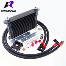 15 Row Oil Cooler Aluminum Kit 3/4X16 UNF Oil Filter Sandwich Plate Thermostat