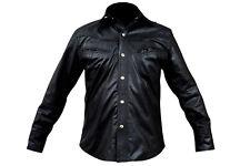 3XL Size Clearance Men's Black Leather Shirt Casual Fashion Shirts LLL-433-B