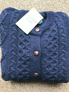Traditional 100% British Wool Aran Crew Neck Cardigan Chunky Cable Knit Pockets