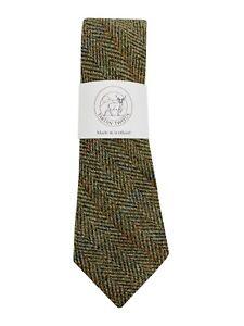 Men's Harris Tweed Tie Green Herringbone