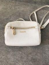 DKNY Leder Damentasche Crossbody Tasche Schultertasche Umhängetasche Creme Weiß
