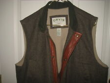ORVIS Primaloft Wool Men's Sleeveless Jacket Leather Trim Large