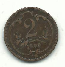 A VERY NICELY DETAILED HIGHER GRADE 1899 AUSTRIA 2 HELLER COIN-DEC187