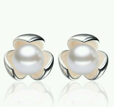 Pearl earrings silver flower studs wedding prom bride birthday 748