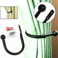 Black Large Stylish Curtain Hold Back Metal Tie Arm Hook Loop Holder U Shaped