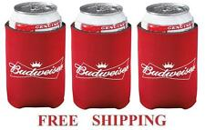 BUDWEISER 3 BUD BEER CAN WRAP COOLERS KOOZIE COOZIE COOLIE HUGIE NEW