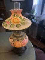 Vintage 3-way Hurricane Gone With The Wind Pink Hand  Painted Parlor Lamp