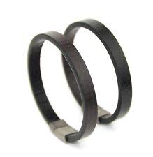 Petite Unisex Flat Leather Bracelet Stainless Steel Interlocking Gun Black 20cm