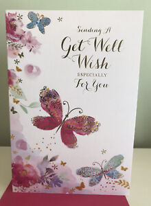 BRAND NEW GET WELL SOON CARD BY Simon Elvin.Female Gold Foil Text/butterflies.