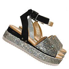 Luxury96 Rhinestone Glitter Flatform Sandal - Women Ankle Strap Crystal Platform