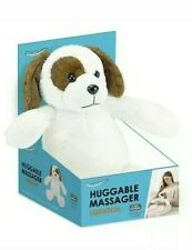 HealthTouch Huggable Massager Vibration White & Brown Stuffed Dog 14 Inches Long