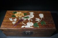 Collect Boxwood hand Inlay Conch flower bird art Usable Precious big Jewelry Box
