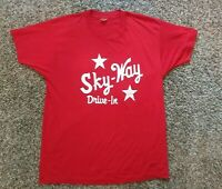 Vintage Sky-Way Drive-In Movie Theater T Shirt Red XL