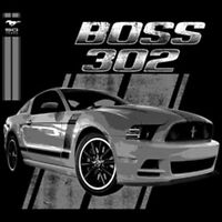 Ford Mustang 50 Years Boss 302 Silver Auto Hot Rat Rod Car Lovers T-Shirt Tee