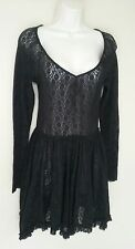 Free People Intimately Lace Dress LS Witchy Skater Sheer Boho Hippie Sz S Black