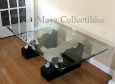 Rare Mid Century Frosted Lucite Panther Lacquer Base & Glass Top Coffee Table