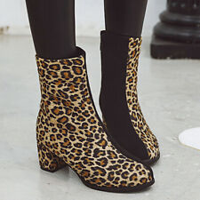 Mid-Calf Boots For Women Leopard Zip Pointed Toe Block Heel Winter Booties US 6