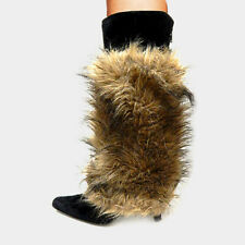 "Fur Leg Warmers Faux Fur Boot Toppers 12"" Tall Fuzzy Soft BROWN Shoe Warmer"