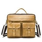 """Genuine Leather Business Briefcase Attache Shoulder Messenger Bag 14"""" Laptop Bag"""