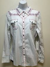 Grace in LA Women's White Lace Bottom Long Sleeve Shirt - Size Large