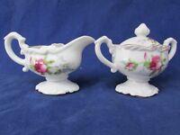 Antique Porcelain Creamer and Sugar Bowl Set Floral NW-L-151 Pink Rose