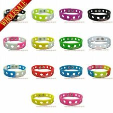 100pcs Silicone Wristband Bracelets Fit for Jibz Shoe Charms,18cm/21cm