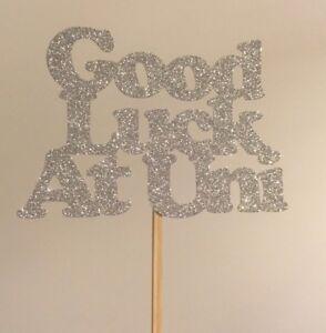 Silver Glitter Good Luck at University Cake Topper