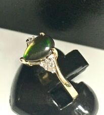 Green Gem Stone & Diamond Ring UK Size Q Fully Hallmarked