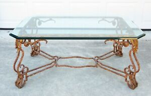 Vintage FRENCH GILTED WROUGHT IRON GLASS COFFEE TABLE Antique GLAM REGENCY Art