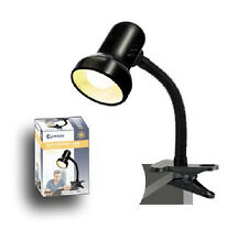 SanSai Black Desk Clip on Clamp Lamp Light Adjustable Flexible Neck Office