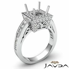 Diamond Engagement 18k White Gold Princess Semi Mount Halo Filigree Ring 1 Carat