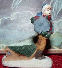 Real Nice Resin Miniature Christmas Figure ! Boy with Tree and Sleigh !