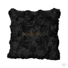 2 xDecorative Embroidered Satin Rose Throw Cushion Cover Pillow Case Black 42cm