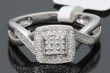10K WHITE GOLD .29 CARAT WOMENS REAL DIAMOND BRIDAL WEDDING RING ENGAGEMENT RING