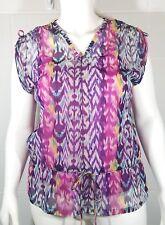 Rafaella Women's Multi Color Sleeveless Blouse Size Medium Geometric Tie Waist