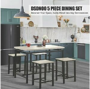 DSDNOO 5 Pcs Dining Table Set- Wood Dining Table & 4 Bar Stools -Beige &Black
